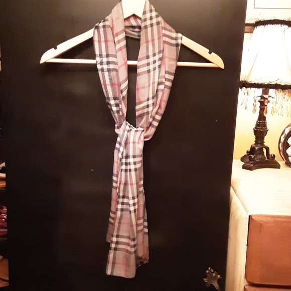 Accessories - Gray,  Black and Red Silk Scarf